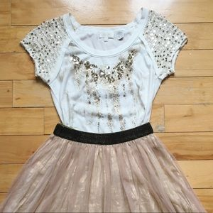 Tops - gold sparkle tee
